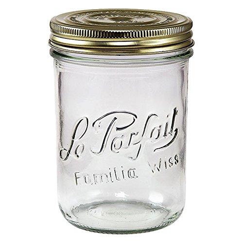 Le Parfait Familia Wiss Terrinen-breit Mund Französische Glas Mason Gläser-Verbraucher Packungen fein 750ml - 24oz - Pint & Half farblos Half Pint Canning Jar