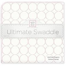 SwaddleDesigns Organic Ultimate Receiving Blanket, Prints, Pastel Pink Mod Circles (japan import)