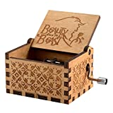SZZHCKJ Wooden Hand Crank Beauty and the Beast Theme Music Box, 18 Note Mechanism Antique Carved Musical Box Best Gift For Kids,Friends