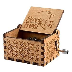 Caja de música temática de madera manivela belleza y la bestia, mecanismo de 18 notas Caja musical tallada antigüedad… 1