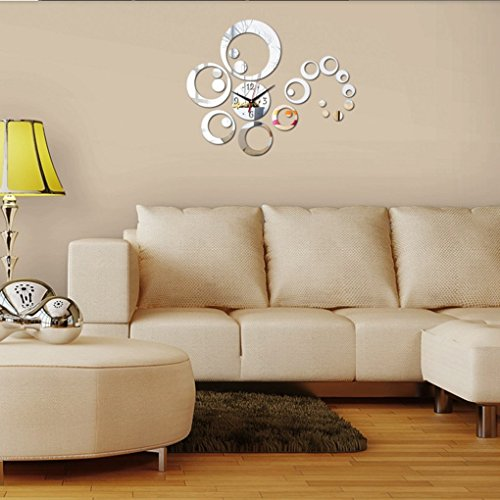 Qhgstore orologio da parete 3d ambienti moderni specchio for Orologi da parete adesivi