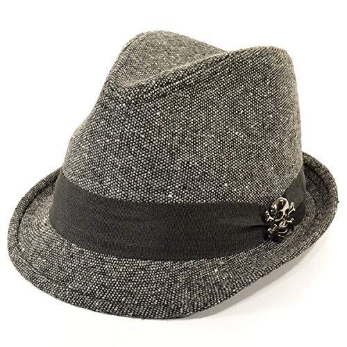 Chapeau trilby de mort Gris avec ruban gros grain épais Noir