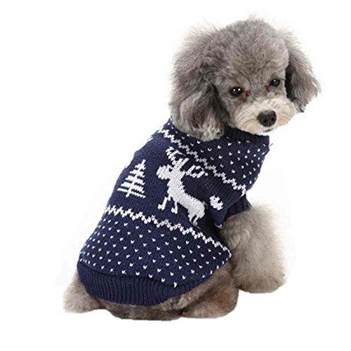 SAMGU Natale Animale Domestico Vestiti di Inverno Cane Maglione Maglieria Pullover per Cani Animali color 34-blu size XX-Large