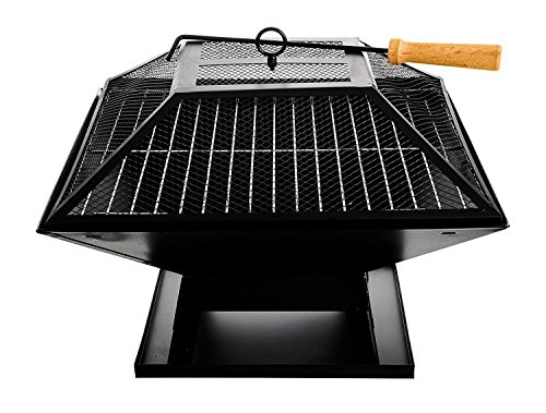 Outdoor Garden Fire Pit Firepit Brazier Burner Square Stove with Protective Cover Patio Heater With BBQ Grill Camping Party Food Tasty Heat Char-Grilled Decking Outdoor Dining