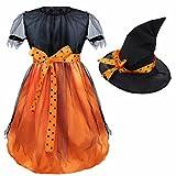 Freebily Conjunto de Disfraz de Bruja para Niña (12 Meses- 7 Años) con Sombrero Vestido Infantil Fiesta Carnaval Negro y Naranja 6-7 Años