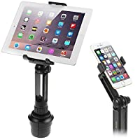 Cup Mount Holder iKross 2-in-1 Tablet and Smartphone Adjustable Swing Cradle with Extended Cup Car Mount Holder Kit for Apple iPad iPhone Samsung Asus Tablet Smartphone and Uber Lyft Driver