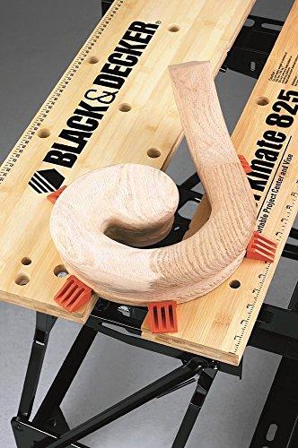 Black+Decker flexible Werkbank WM825 mit großer Arbeitsfläche / Exaktes Arbeiten dank Gradeinteilung und Orientierungslinien / Bis 250 kg belastbar / Maße (Arbeitsfläche): 74,0 x 25,0 cm - 5