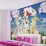 Wallsticker Warehouse Kaninchen Schmetterling Blumen Fototapete - Tapete - Fotomural - Mural Wandbild - (546WM) - Panoramic - 250cm x 104cm - VLIES (EasyInstall) - 1 Piece