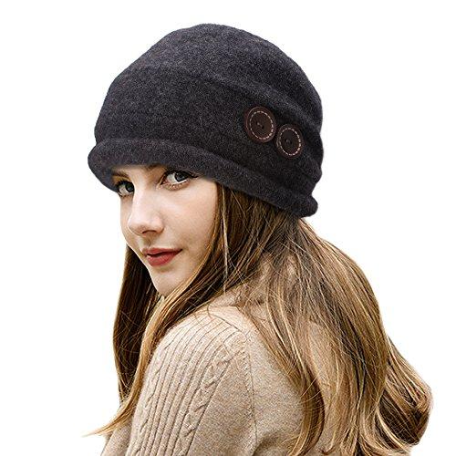 6a2fa022aaa Lawliet Ladies Vintage Elegant Wool Cloche Hat Winter Warm Berets (Dark  Grey) - Buy Online in Oman.