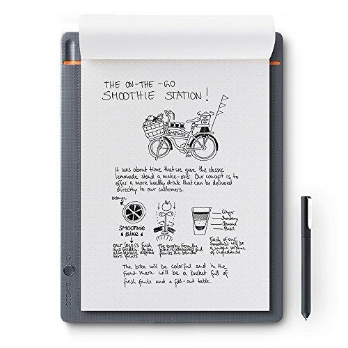 WACOM Bamboo Slate A4 Smartpad / Digitalizzatore di Appunti e Disegni su Carta Grigio Chiaro / Compatibile con Smartphone e Tablet Android iOS e