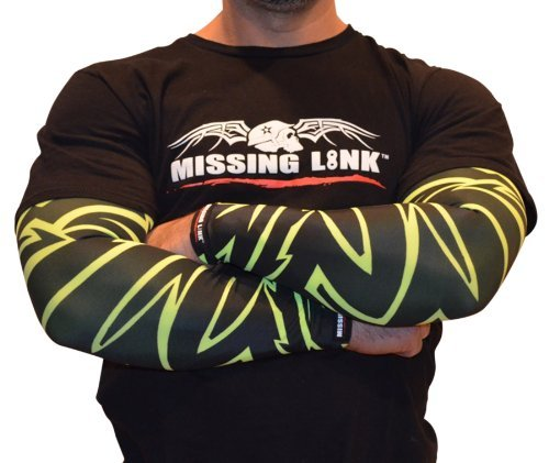 Missing Link SPF 50 HiViz Tribal ArmPro (HiViz Green/Black, Large) by Missing Link