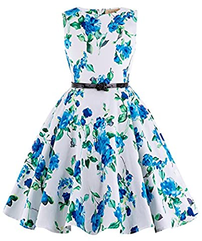 Maedchen A-Linie Pinzessin Blumen Kleid 10-11 Jahre KK250-3