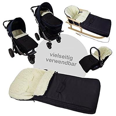 BambiniWelt24 BAMBINIWELT Kombi-Angebot Holz-Schlitten mit Rückenlehne & Zugseil + universaler Winterfußsack (90cm), auch geeignet für Babyschale, Kinderwagen, Buggy, aus Wolle Uni (dunkelgrau)