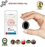 WSK Mini traqueur portatif de GPS, Véhicule de Voiture badine Le Repérage en Temps Réel de GPS de Bébé de Bébé, Imperméable à L'eau, Alarme de Sos, Geo-Barrière, Précis du positionnement, Black