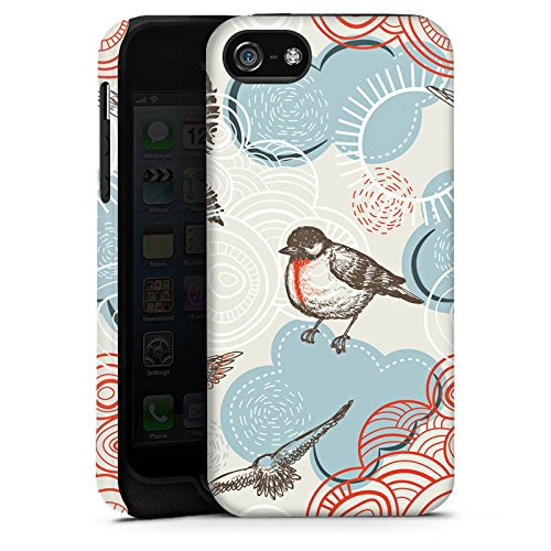 Apple iPhone 5s Housse étui coque protection Oiseau Motif Motif Cas Tough terne