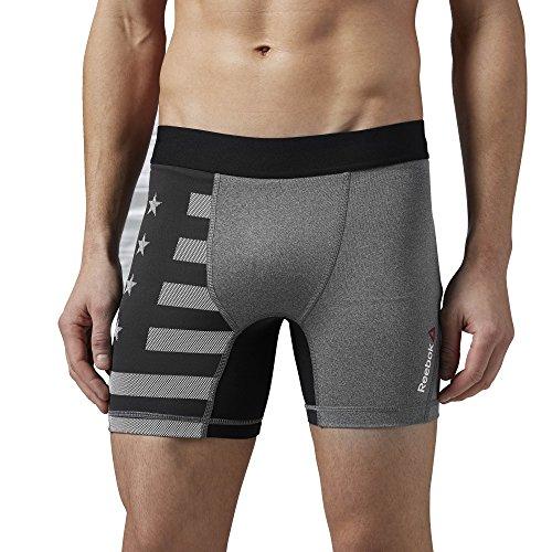 Pantaloncini da uomo Reebok One Series Pw3R Compression lettera, Dgh Solid Grey Grigio - Dgh Solid Grey