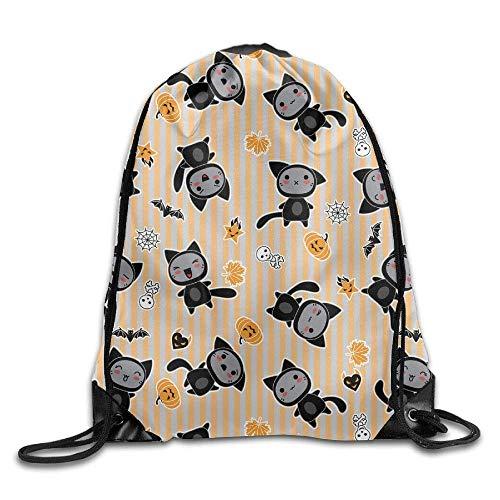 Decams Rucksack mit Kordel für Halloween, Cartoon-Katze, Reisetasche, Sporttasche, tragbar, Kordelzug, für Mädchen, Jungen, Frauen, Frauen