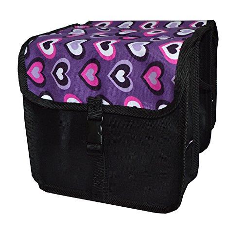 FAHRRADTASCHE Kinder Satteltasche Gepäckträgetasche Doppel 2 x 5l (6. Mini - Herz)