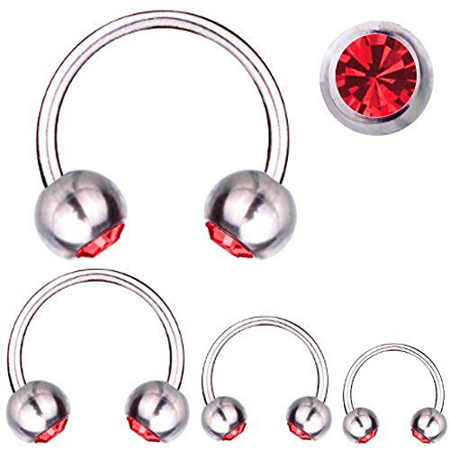 Ferro di cavallo piercing in titanio 1,6 mm cristalli swarovski elements rosso | 8 – 16 mm, titanio, cod. 2861