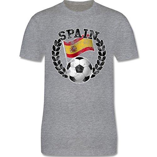EM 2016 - Frankreich - Spain Flagge & Fußball Vintage - Herren Premium T-Shirt Grau Meliert