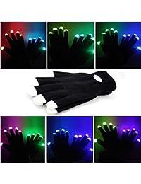 Guantes con iluminación led en las puntas de los dedos, color negro