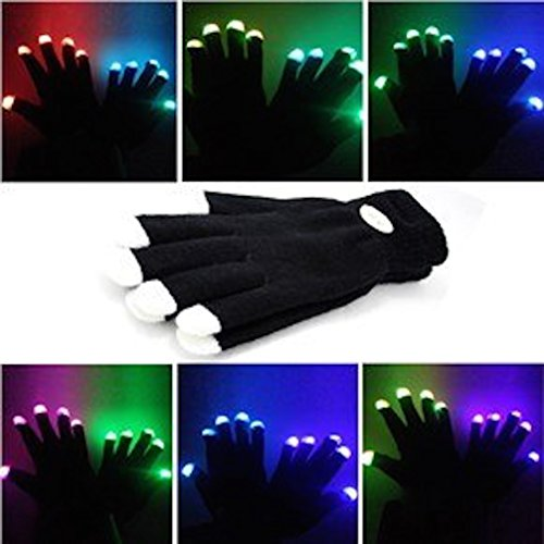 guanti luminosi Guanti Lampeggianti Glow 7 Mode LED Rave Light Finger Lighting Mitt Nero - Taglie per Bambini