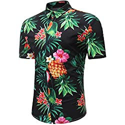 ZFFde Causal Camiseta para Hombres Camisetas de Manga Corta con Estampado de piña de la Palma Camisas Delgadas de la Moda para Hombre (Color : Black, tamaño : L)