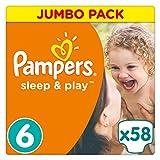 Pampers Sleep & Play Windeln, Gr. 6, (ab 15 kg), Jumbo Pack, Einfach trocken, 1er Pack (1 x 58 Stück)