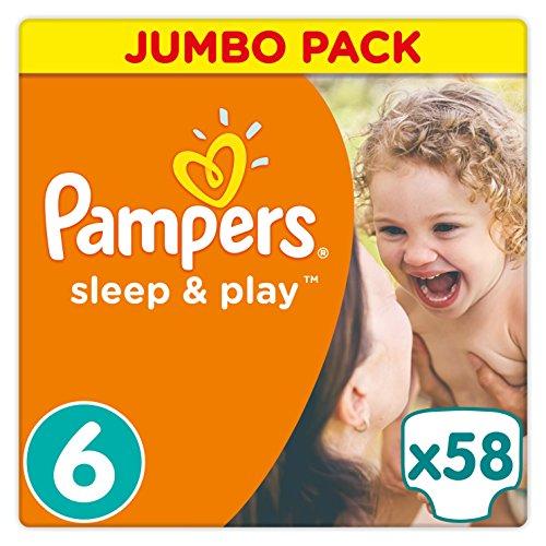 Preisvergleich Produktbild Pampers Sleep & Play Windeln, Gr. 6, (ab 15 kg), Jumbo Pack, Einfach trocken, 1er Pack (1 x 58 Stück)