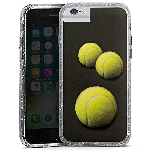 Apple iPhone 8 Bumper Hülle Bumper Case Glitzer Hülle Tennis Ballons Baelle Bumper Case Glitzer silber