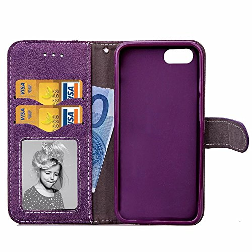 iPhone Case Cover Fleurs réfléchies rétro Folio Premium PU Housse en cuir Magnétique Fermeture Portefeuille Stand Style Housse Housse pour iPhone7 ( Color : Blue , Size : IPhone 7 ) Purple