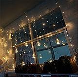 STRCK Lichterkettenvorhang Sternen, 2.5m x 1m Sternen LED Lichterketten Lichterkettenvorhang Party Hochzeit Decoration Garden Romantisch