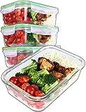 Good For You Recipientes de Vidrio para la preparación de Comidas - Recipientes De Vidrio con Tapas Horno y congelador Seguros-BPA Libre 850ml 28oz 3.5Tazas [4- Paquete]