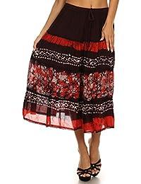 Sakkas Layla Adjustable Waist Batik Tiered Mid-Length Skirt
