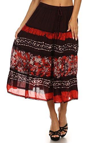Sakkas 15452 - Layla justierbare Taille Batik Tiered Mid-Länge Rock-Orange-OS (Rock Tie-dye-langer)
