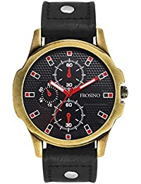 Frosino Mens Wrist Watch-Quartz Analog Numeral with Classic Black Faux Leather - Fashion Casual Unique Dress - Business Office Work School Watches for Men - FRAC101818