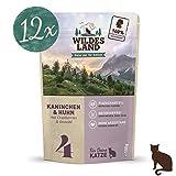 Wildes Land | Nassfutter für Katzen | Nr. 4 Kaninchen & Huhn | 12 x 100 g | Getreidefrei | Extra viel Fleisch Akzeptanz und Verträglichkeit