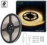Minger LED Streifen mit Schalter,IP65 wasserfest,300 LEDs,LED Leisten,LED Lichtband, LED Lichtleisten, LED Band,2835 SMD 5m/16.4 ft 3000 Kelvin,Warmweiß [Energieklasse A+]