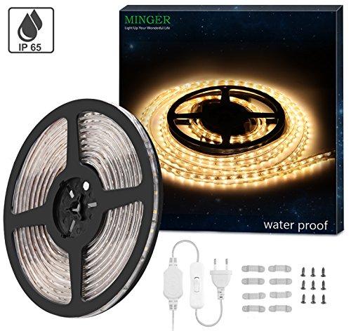 Minger LED Lichtband Warmweiß 5M/16.4ft LED Streifen 2835 SMD Wasserdicht LED Leisten mit EU Stecker für zu Hause Küche Festival Beleuchtung Dekoration(220V) [Energieklasse A+] (mit Schalter)