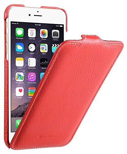 Edle Tasche für Apple iPhone 6S Plus und 6 Plus (5.5 Zoll) / Case Außenseite aus beschichtetem Leder / Cover Innenseite aus Textil / Schutz-Hülle aufklappbar / ultra-slim / Flip-Case / Farbe: Rot Farbe Flip Case