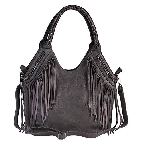 Tracolla Tote Bag Oversize In Nappa Damara® Donna Blu Scuro
