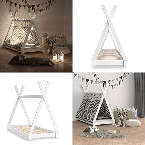 Vicco Kinderbett TIPI Kinderhaus Indianer Zelt Bett Kinder Holz Haus Schlafen Spielbett Hausbett 80×160 (Weiß) - 8