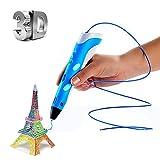 Balai 3D-Druckstift, Intelligente 3D-Zeichnung Gekritzel Kunst Crafting der Filament-Modell ABS Material Kunst-Instrumente Drucker (Blau)