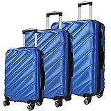 SHAIK  Serie CANDY Design LHR 3 Größen M   L   XL   Set   Hartschalen Kofferset 40/78/124 Liter, 4 Doppelrollen, 25% mehr Volumen durch Dehnfalte Zahlenschloss (Himmelblau)