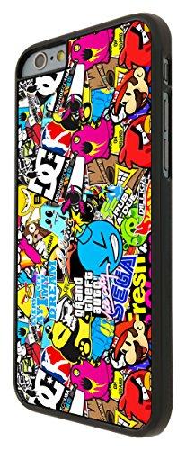 589-Stickerbomb Sticker Bomb Cool Funky Coque iPhone 66S 4.7Design Fashion Trend Case Back Cover Métal et Plastique-Noir
