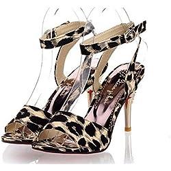 Peep Toe Knöchelriemen Pumps Leopard Sandalen Sommer Neue Wild Damen Römische Große Größe 31-47 , black , 46