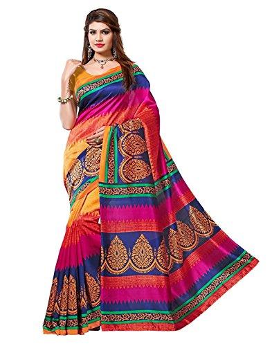 Jaanvi fashion Damen-Kunst-Seide gedruckte Saree Free Size Multi Seide Saree