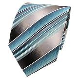 TigerTie Seidenkrawatte türkis mint grau silber gestreift - Krawatte Seide