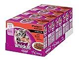 Whiskas Katzenfutter Junior für junge, heranwachsende Katzen - saftige Fleisch-Auswahl in Sauce / 48 Portionsbeutel (4 x 12 x 100g)