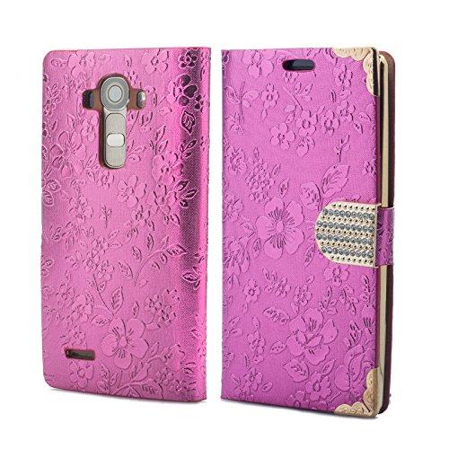 iCues LG G4 Chrom Blume Buch - Pink - Exklusives Design mit eingelassenen Strass Steinen + Displayschutz
